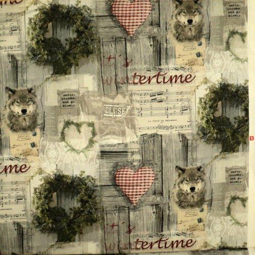 Bavlněná látka vintage vlk srdíčka noty prkna wintertime