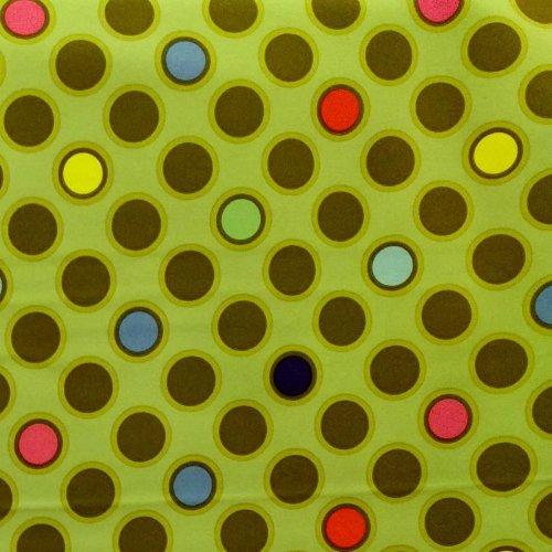 Nepromokavý softshell metráž 100 polyester pevný na bundy zelený barevná puntíky kuličky