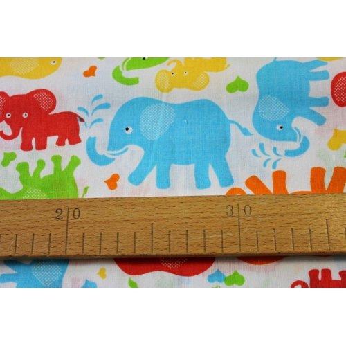 Dětská bavlněná látka barevní sloni na bílém podkladu