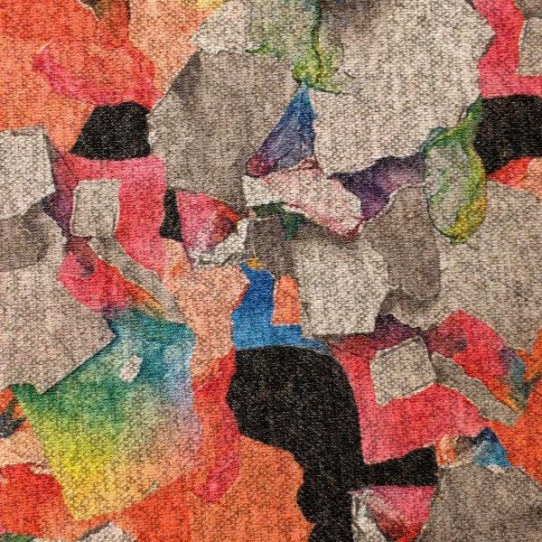 Látka svetrovina viskózová barevná abstrakce šedá oranžová polyester akryl kašmír