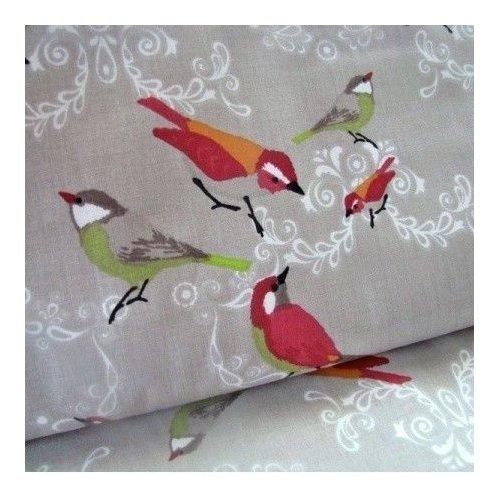 Látka bavlna ptáčci na šedé bílé ornamenty