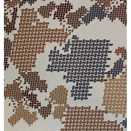 Viskózová látka šatovka s elastanem hnědá šedá kostky lego pixely na světle hnědé moka