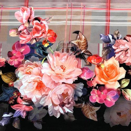 Pružná šatová látka s viskózou elastanem polyesterem digitální tisk květiny na hnědé