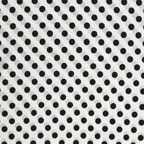 Elastická látka na šaty polyester elastan viskóza černé puntíky tečky na bílé