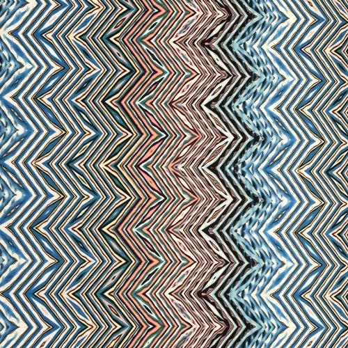 Polyesterová látka na šaty šatovka viskóza černý zig zag klikaté čáry na světlé modré růžové
