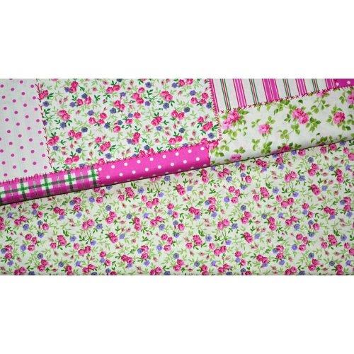 Bavlna na patchwork růže květinky světle zelená čtverečky