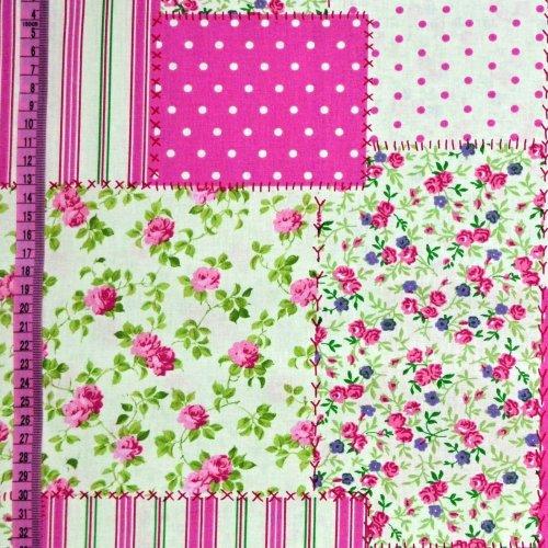 Bavlna metráž sešité čtverečky pačvork růžová puntíky proužky kanafas