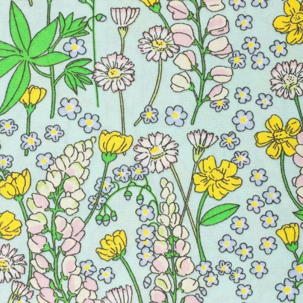 Bavlněná látka od českého výrobce 100 bavlna bylinky luční kvítí mentolová