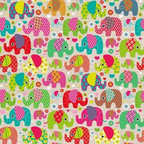 Dekorační látka barevní sloni režná