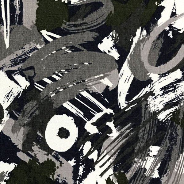 Teplákovina žerzej hrubá nepočesaná metráž na tepláky černá bílá šedá čmáranice illustration