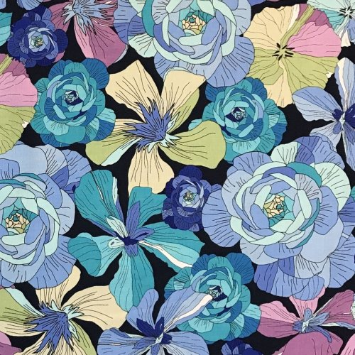 Bavlněná látka dovoz amerika us nebesky modré květiny na černé na dekorace oblečení