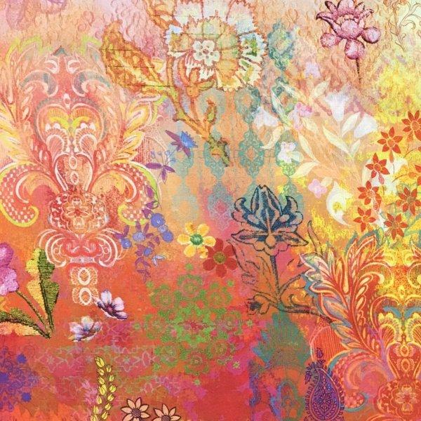Amersická bavlna metráž arabesque arabeska květiny přechod červená bílá