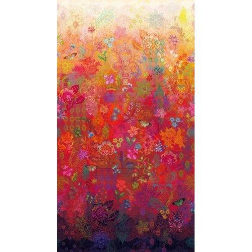 Arabesque fanciful flourish látka amerika bavlna gradient přechod spád tmavě červená bílá květiny