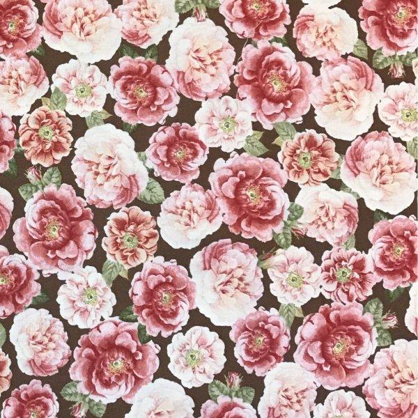 Látka dovoz amerika designové plátno na šití hortenzie růžové květiny hnědé