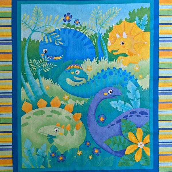 Americká látka bavlna panel ,a povlečení polštáře jungle club dinosauři dětské brontosaurus
