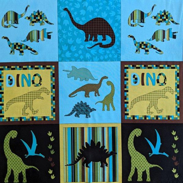 Americká bavlněná látka panel dinosauři bedrock dětský motiv na deky čtverce
