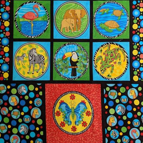 Látka bavlna dovoz amerika panel na deky patchwork dětský barevný zvířecí čtverce motýl