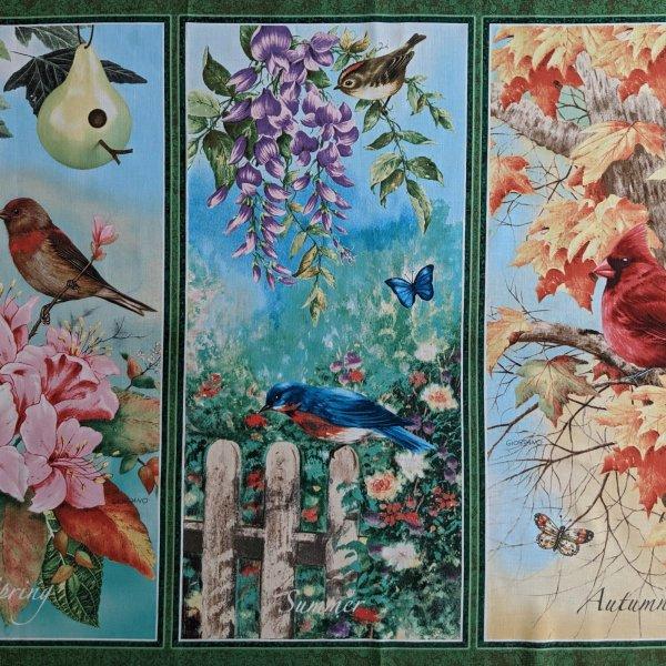 Látka panel z ameriky 4 čtyří roční období ptáci jaro léto podzim zima