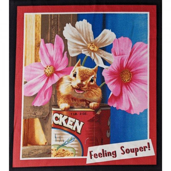 Panel bavlněné látky veverka chipmunk křeček na patchwork bytové dekorace feeling souper chicken