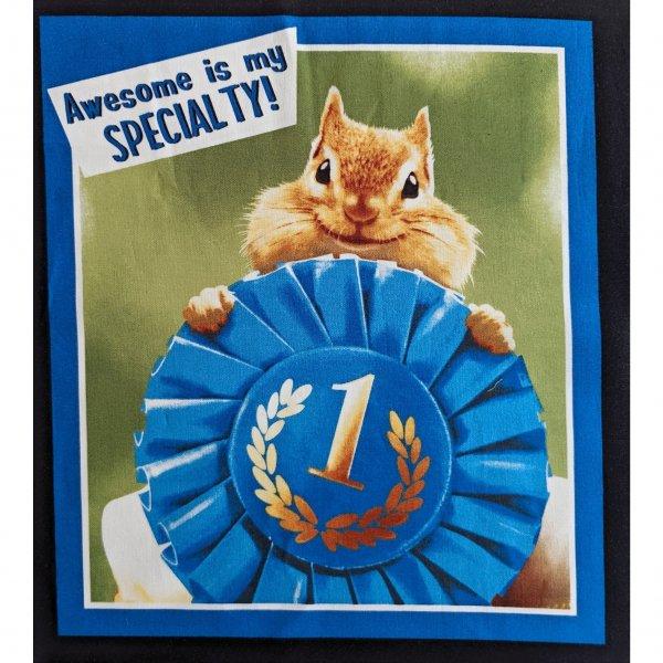 Látkový panel bavlněný chipmink křeček veverka stužka odznak Awesome is my specialty
