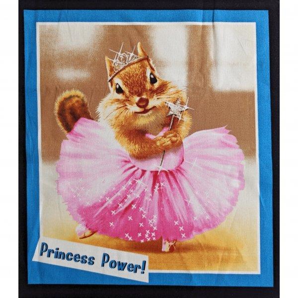 Panel dovozové látky 100 bavlna veverka chipmunk princezna šaty princess power na quilting bytové dekorace