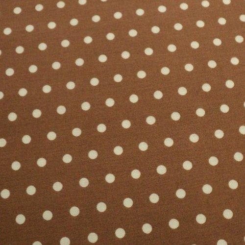 Bavlněná látka bílé puntíky světle hnědá 6 mm