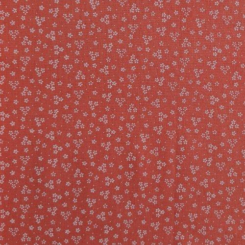 Česká bavlna plátno bílé květinky kvítka na lososově růžové látka na šití patchwork quilting