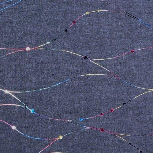 Světle modrá látka riflovina s potiskem, 100% bavlna, 180g/m2, šířka 150 cm