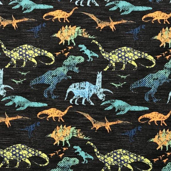 dětská látka metráž teplákovina pro kluky vzor dinosauři na černé na šití oblečení