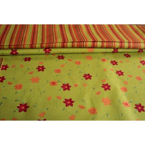 Bavlněná látka zelená s květinami a listy stonky žluto zelená světlá červená