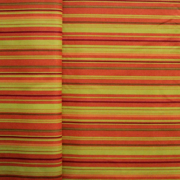 Bavlněná látka proužkovaná zelené oranžové bytový textil závěsy