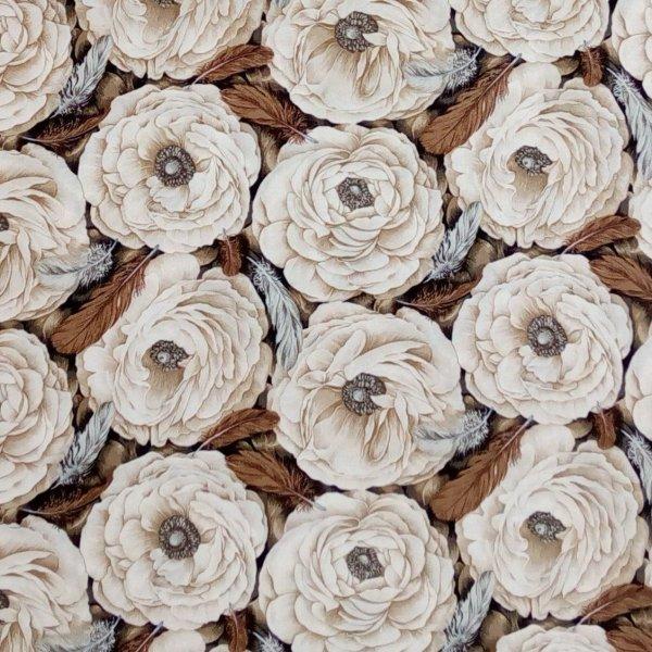 Americká látka 100 bavlna krémová květy a hnědými pírky
