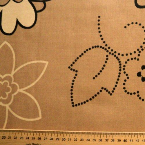 Bavlna plátno metráž na povlečení hnědá moka světlá květiny
