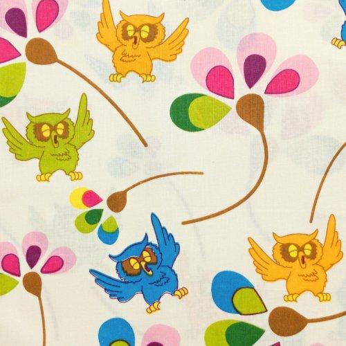 Dětská látka barevné sovy s kytičkami