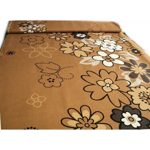 Látka 100 bavlna hnědá povlečení závěsy květy
