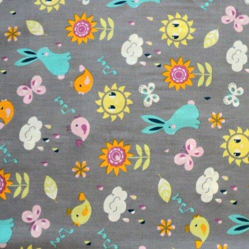 Bavlněná látka hebká šedá dětský vzor dětské oblečení