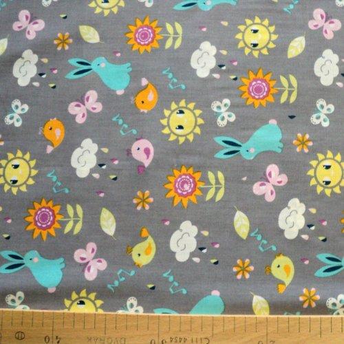 Látka 100 bavlna metráž zajíci králíci motýli mráčky sluníčka květinky rybičky šedá dětské