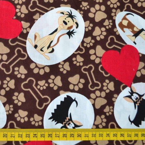 Dětská látka bavlněná červená srdce psi pejsci jezevčíci tlapky