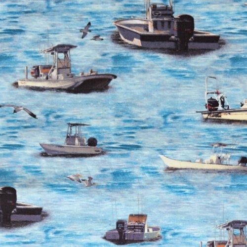 americká quilting látka od wilmington fabrics reel 'em in 46024 491 rybářské lodě námořní
