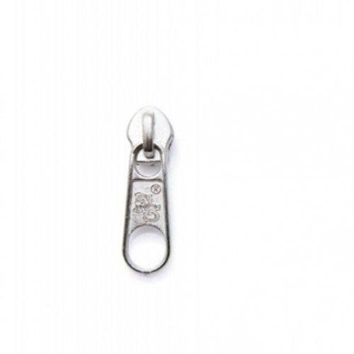 Kovový jezdec pro spirálový zip, velikost 5,8 mm, stříbrný, bez aretace