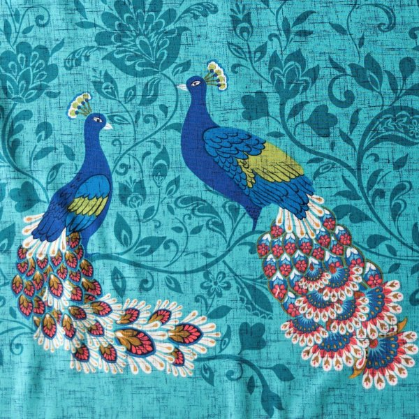 americá látka michael miller fabrics peacocks pávi na tyrkysové D07764-PECO-D