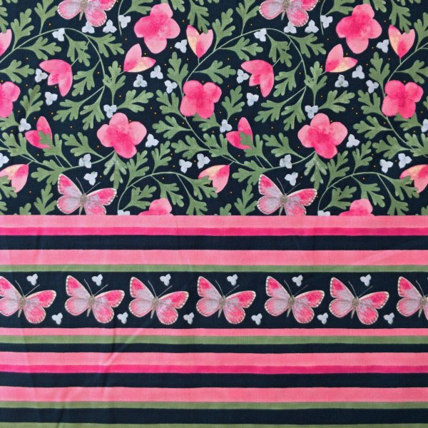 Dovozová látka needlecraft mez fabric earrly spring flower Dee Hardwicke pink bordura c132444-00003