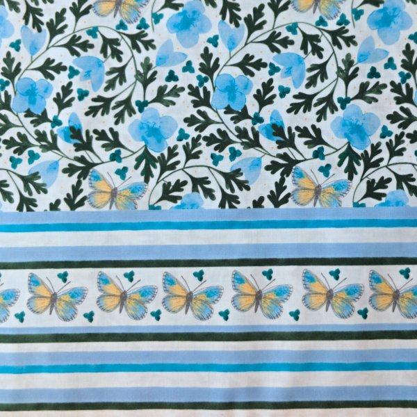 Dovozová látka needlecraft mez fabric earrly spring flower Dee Hardwicke blue bordura c132444-00002