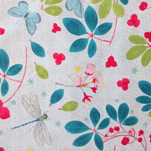 Dovozová látka needlecraft mez fabric spring blossomDee Hardwicke white c132449-00004