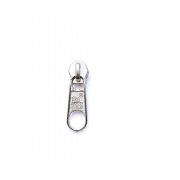 Kovový jezdec nikl, pro spirálový zip, velikost 4 mm, stříbrný bez aretace