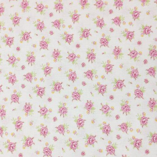 Látka s růžičkami bílá bavlna metráž