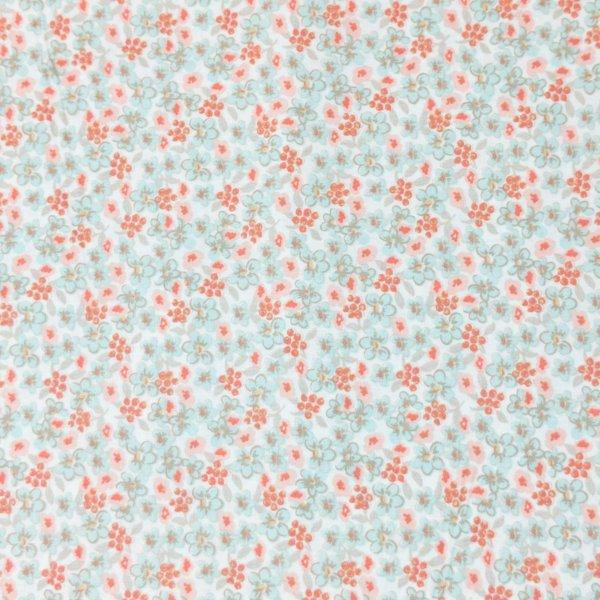 bavlněná látka dovozová zahraniční matráž barevné květinky lososové růžové bledě modré mentolové na bílé