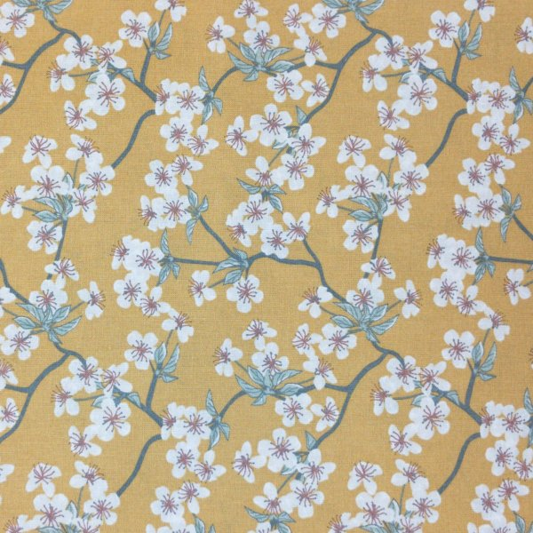 látka 100 bavlna metráž květiny popínavé rostliny tmavě žlutá okrová hořčicová