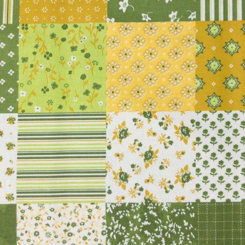 látka na patchwork falešný čtverečky kostičky sešité žluto zelené kombinované