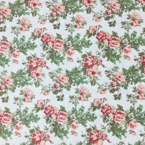 bavlněné plátno 100 CO na patchwork a dekorace růže růžová bílá lístky